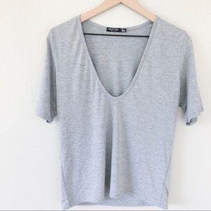 Nasty Gal Grey Deep V Short Sleeve Tshirt